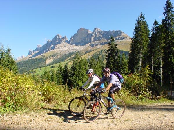 Das Gebiet zwischen Rosengarten und Latemar ist ein Eldorado für Mountainbiker. - Foto: Tourismusverein Eggental