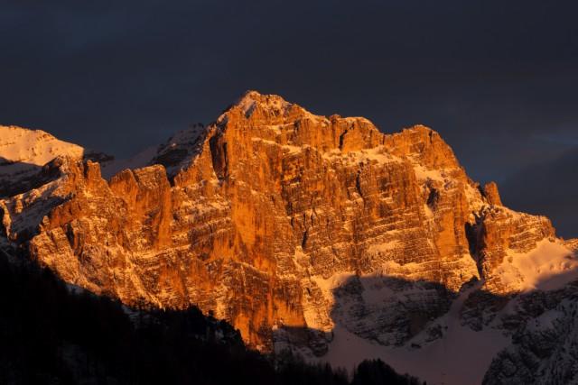Abendstimmung in den Dolomiten; Foto: Hotel Fanes